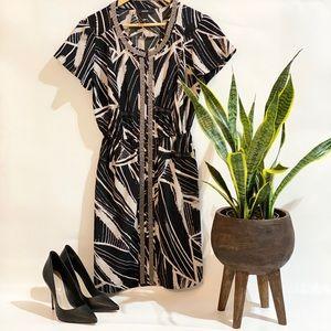 ALFANI front zip cinched waist dress